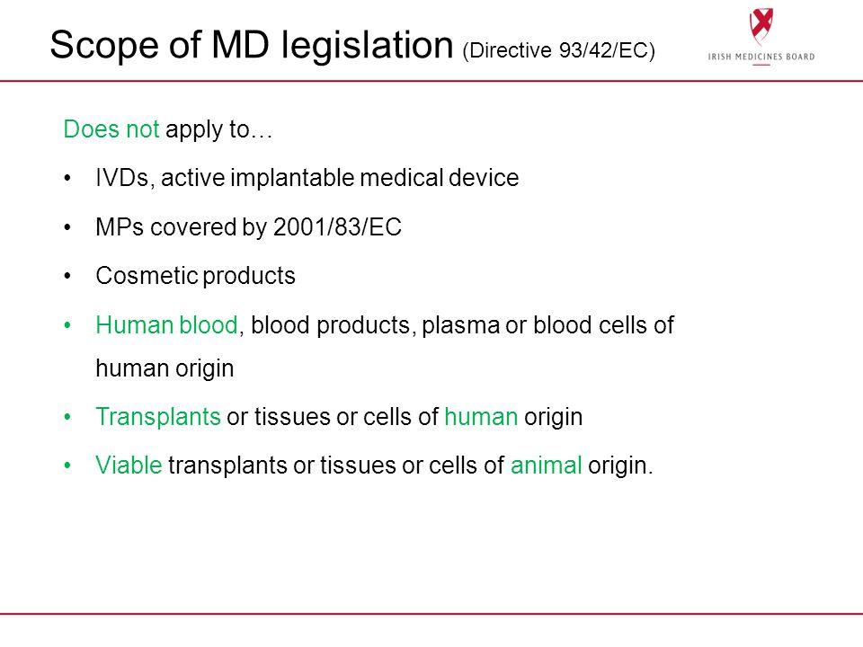 Scope of MD legislation (Directive 93/42/EC)