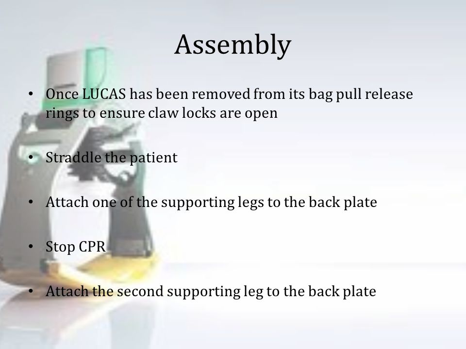 Assembly Once LUCAS has been removed from its bag pull release rings to ensure claw locks are open.