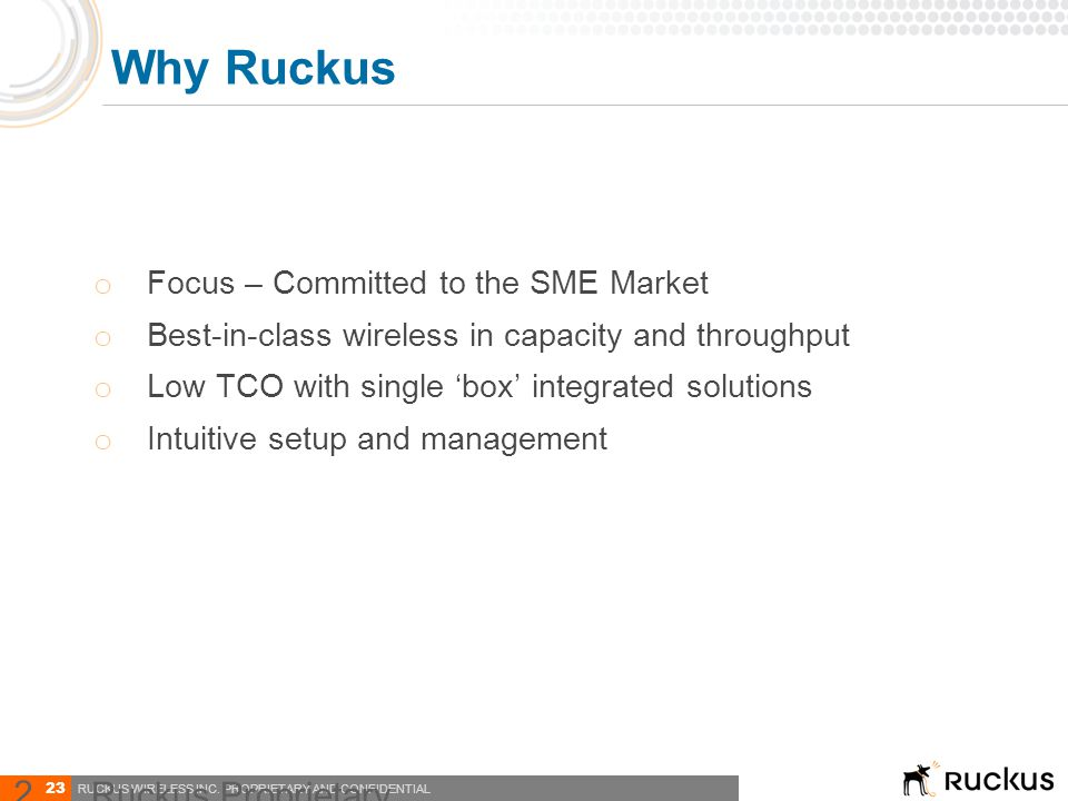 Why Ruckus Ruckus Proprietary and Confidential