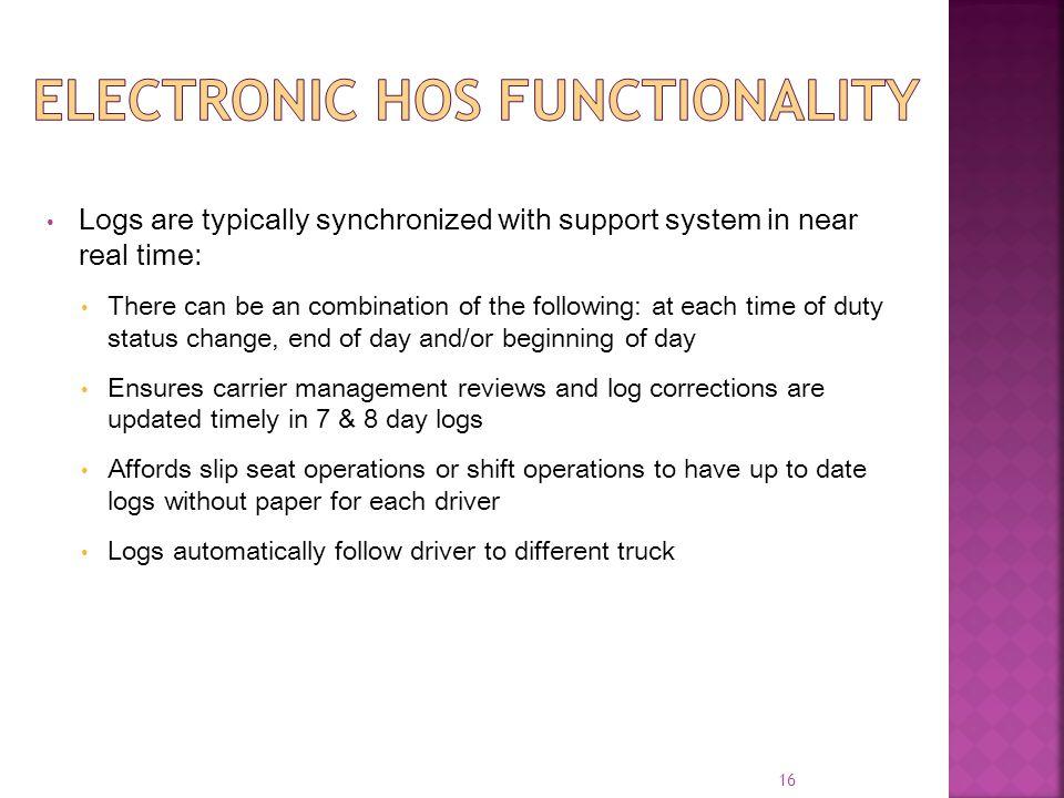 Electronic HOS Functionality