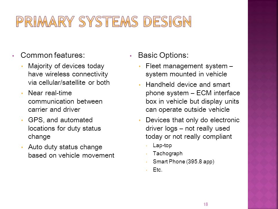 Primary systems design