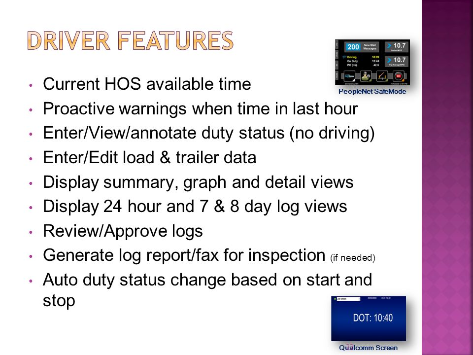 Driver features Current HOS available time
