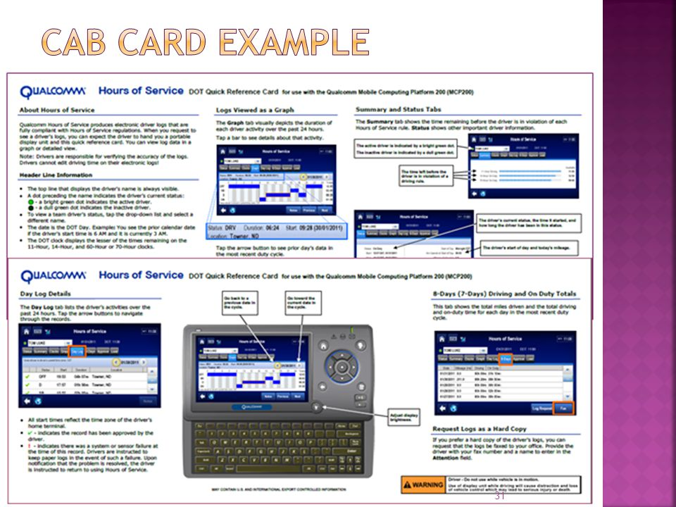 Cab Card Example