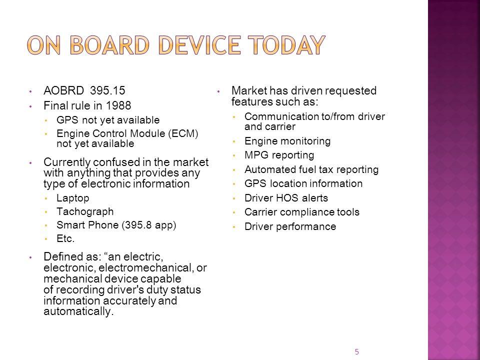 On board device today AOBRD 395.15 Final rule in 1988