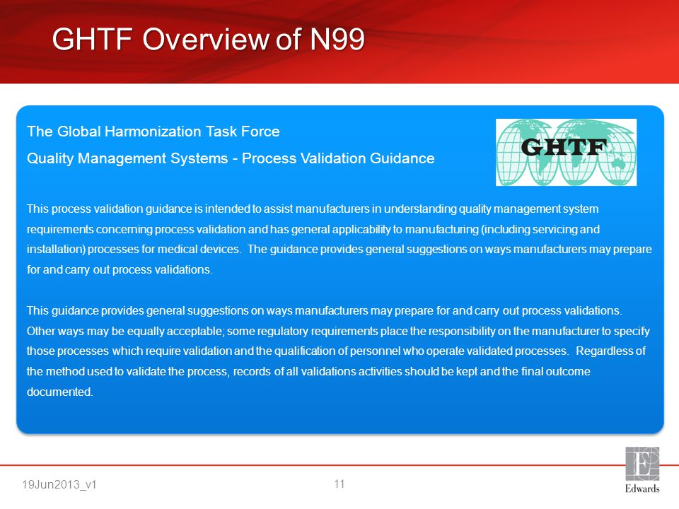 GHTF Overview of N99 The Global Harmonization Task Force