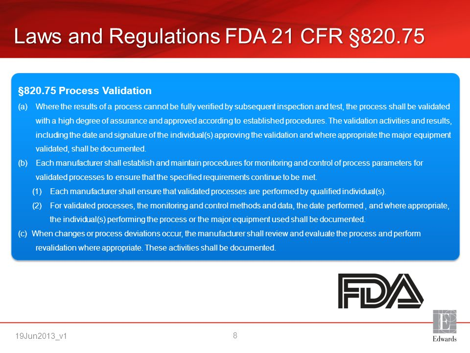 Laws and Regulations FDA 21 CFR §820.75