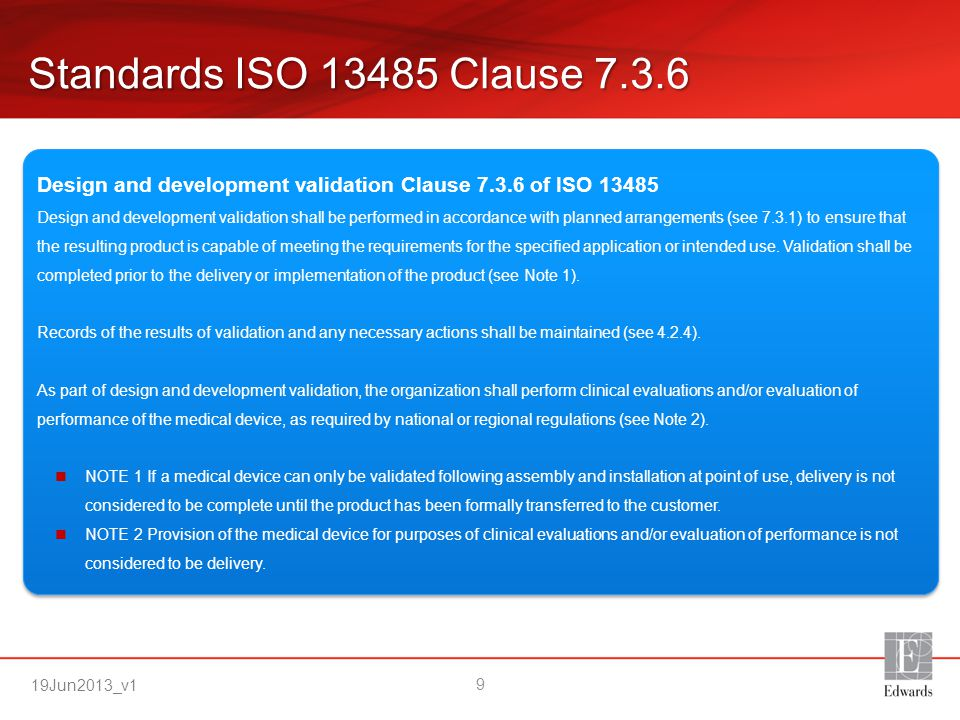 Standards ISO 13485 Clause 7.3.6