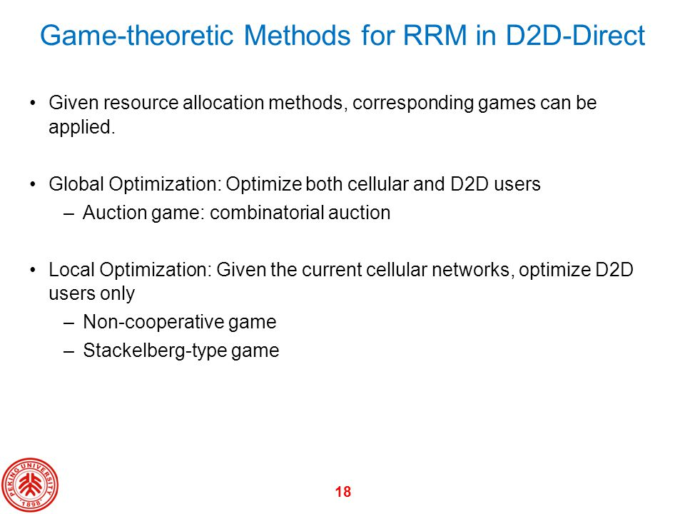 Game-theoretic Methods for RRM in D2D-Direct