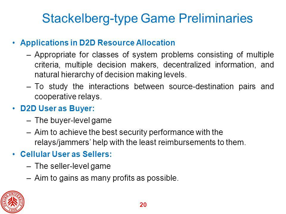 Stackelberg-type Game Preliminaries
