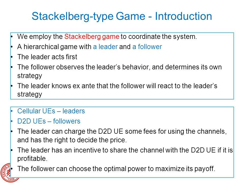 Stackelberg-type Game - Introduction