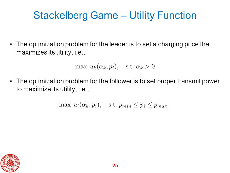 Stackelberg Game – Utility Function