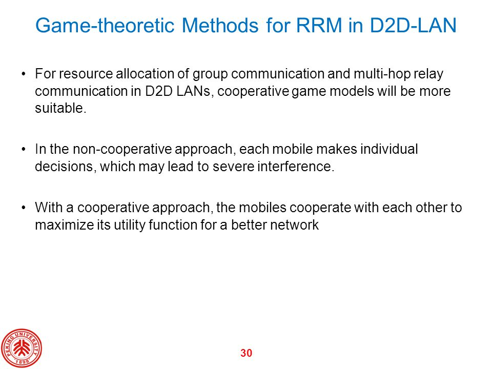 Game-theoretic Methods for RRM in D2D-LAN