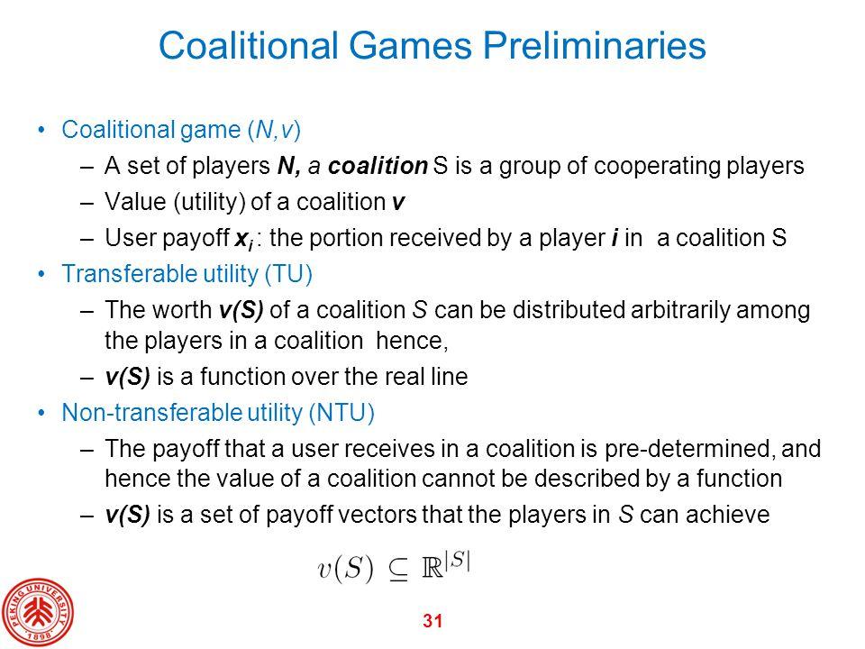 Coalitional Games Preliminaries