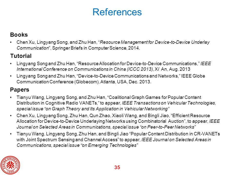 References Books Tutorial Papers