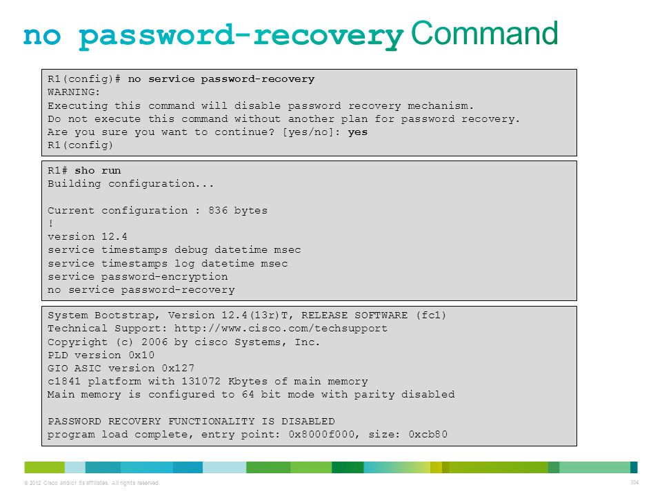 no password-recovery Command