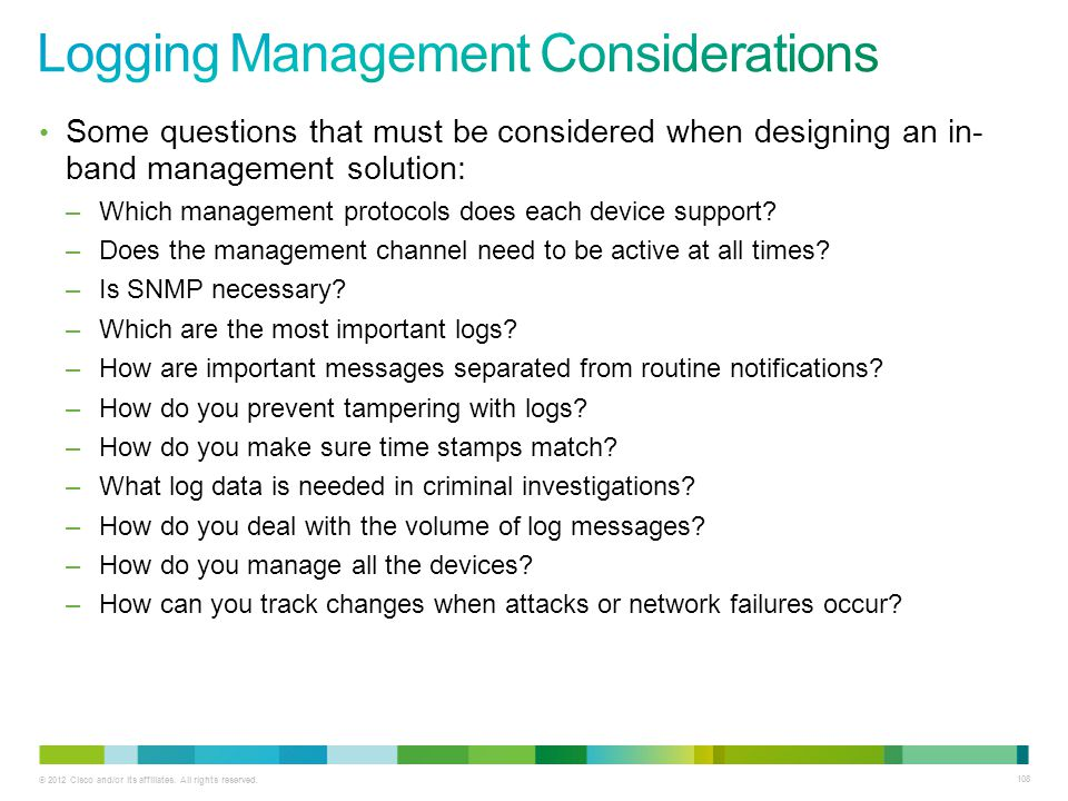 Logging Management Considerations