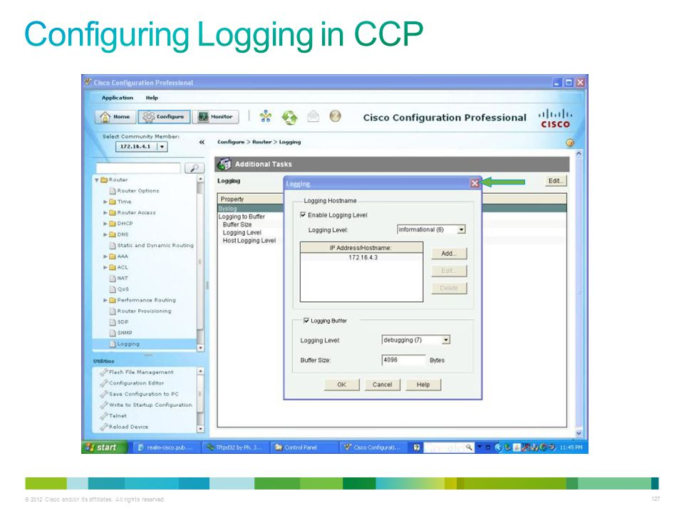 Configuring Logging in CCP