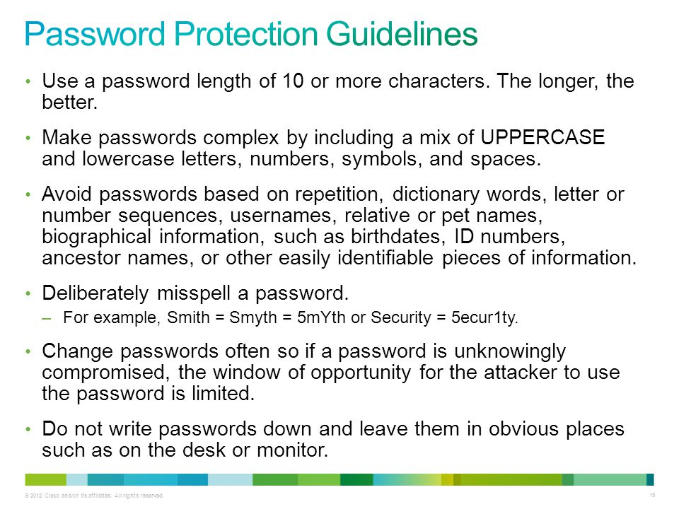 Password Protection Guidelines