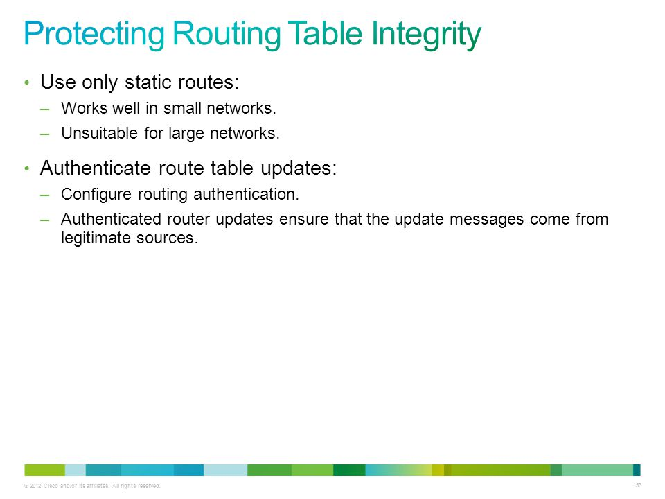 Protecting Routing Table Integrity