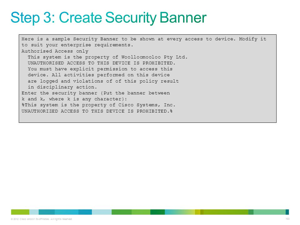 Step 3: Create Security Banner