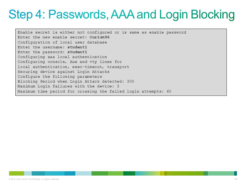 Step 4: Passwords, AAA and Login Blocking