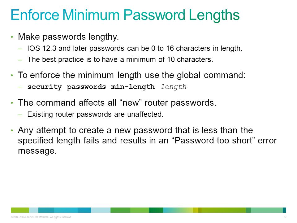 Enforce Minimum Password Lengths