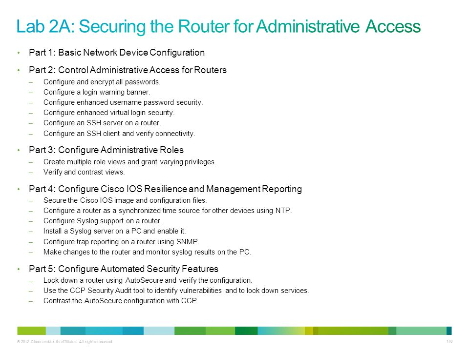 Lab 2A: Securing the Router for Administrative Access