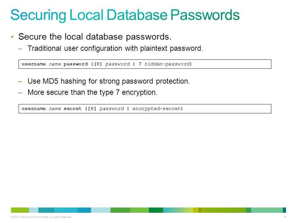 Securing Local Database Passwords