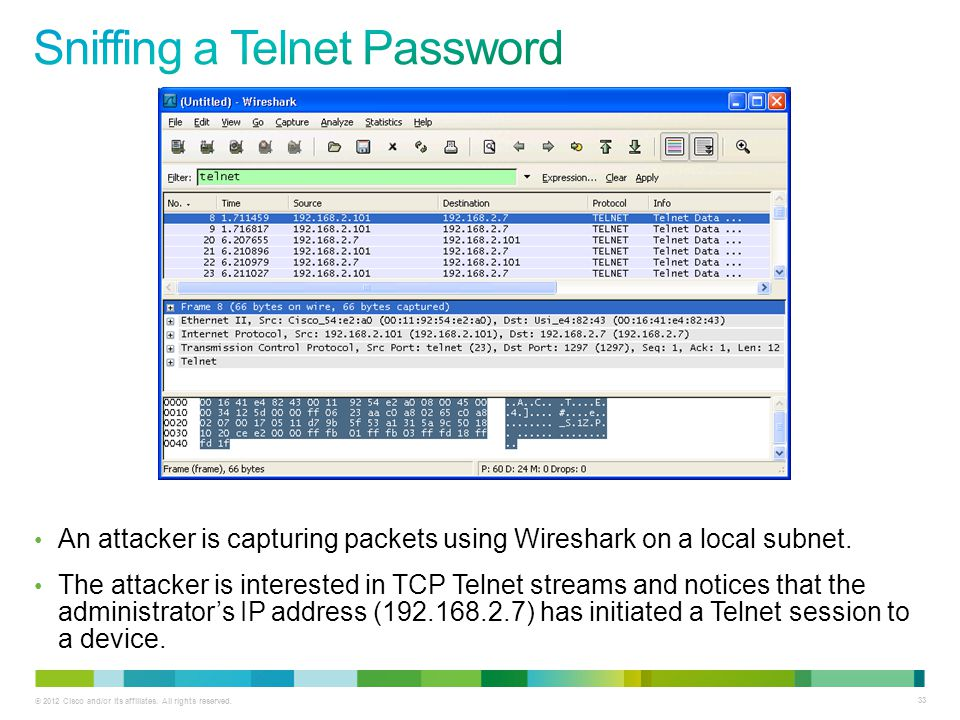 Sniffing a Telnet Password
