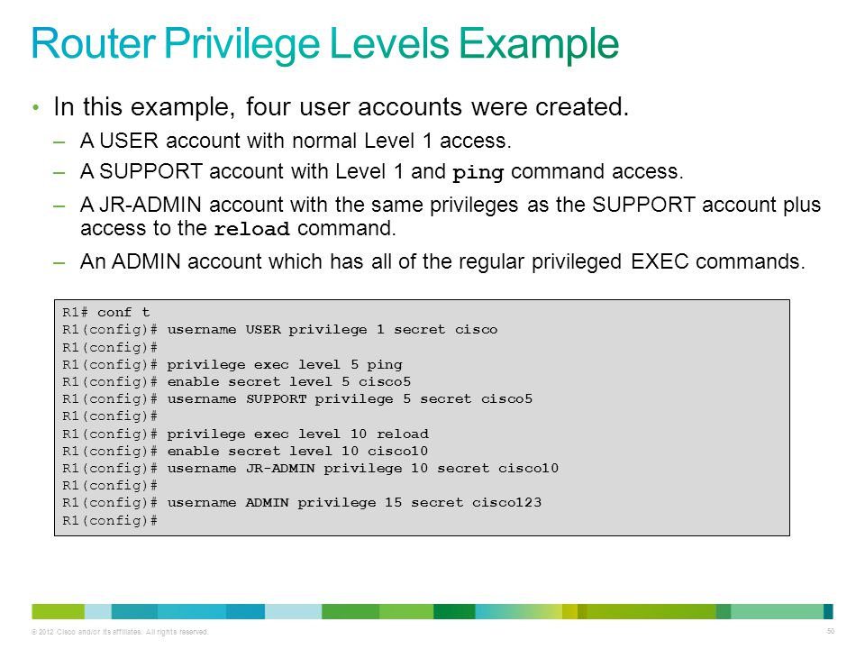 Router Privilege Levels Example