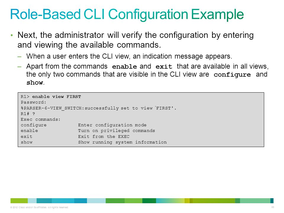 Role-Based CLI Configuration Example