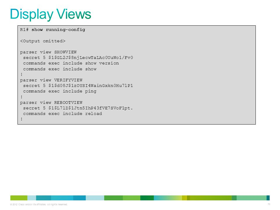 Display Views R1# show running-config <Output omitted>