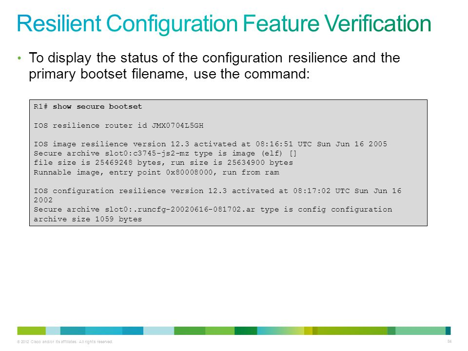 Resilient Configuration Feature Verification