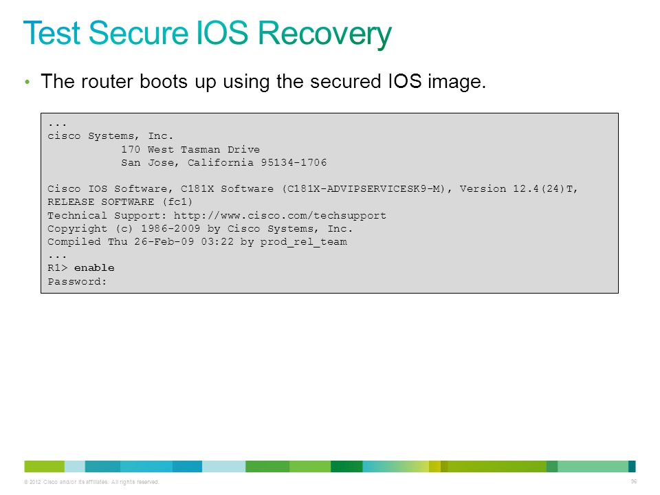 Test Secure IOS Recovery