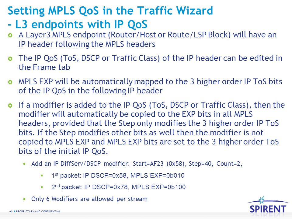Setting MPLS QoS in the Traffic Wizard - L3 endpoints with IP QoS