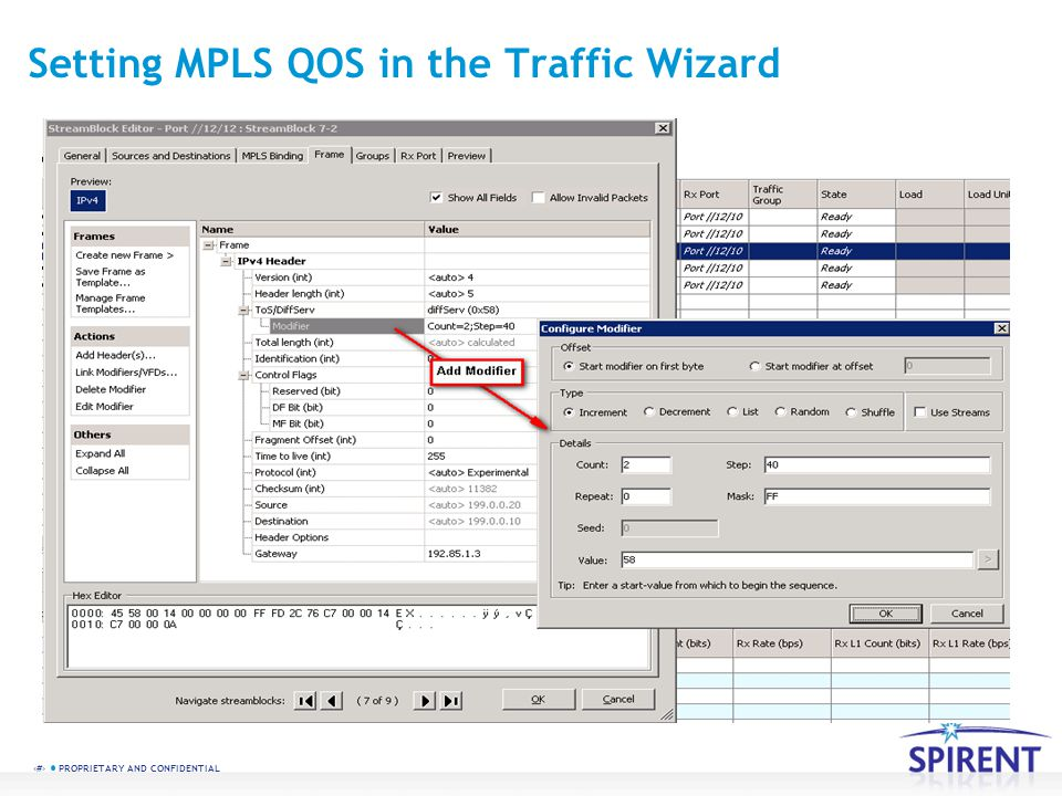 Setting MPLS QOS in the Traffic Wizard