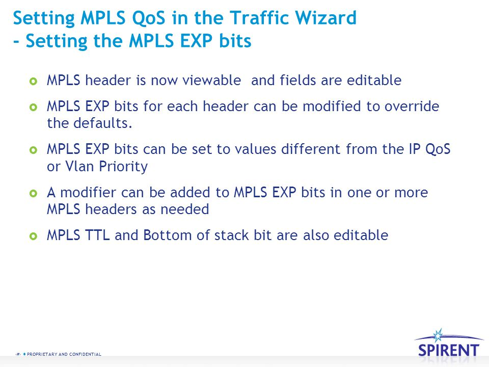 Setting MPLS QoS in the Traffic Wizard - Setting the MPLS EXP bits
