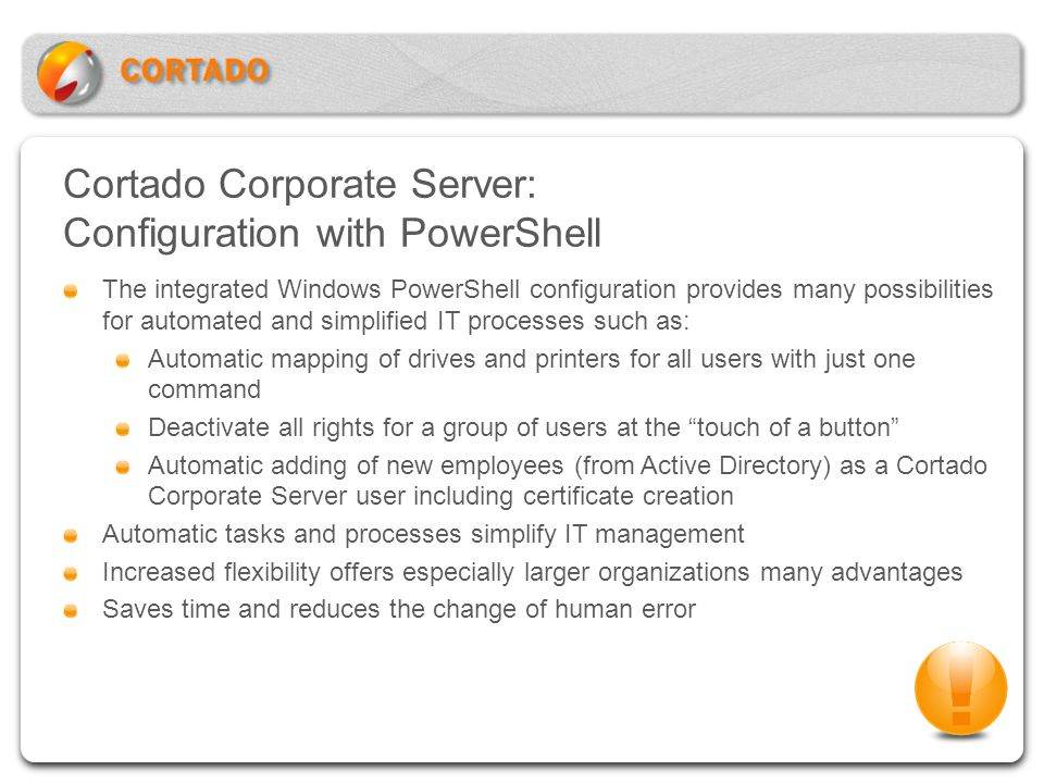 Cortado Corporate Server: Configuration with PowerShell