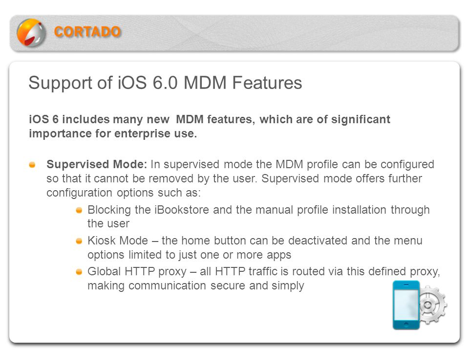 Support of iOS 6.0 MDM Features