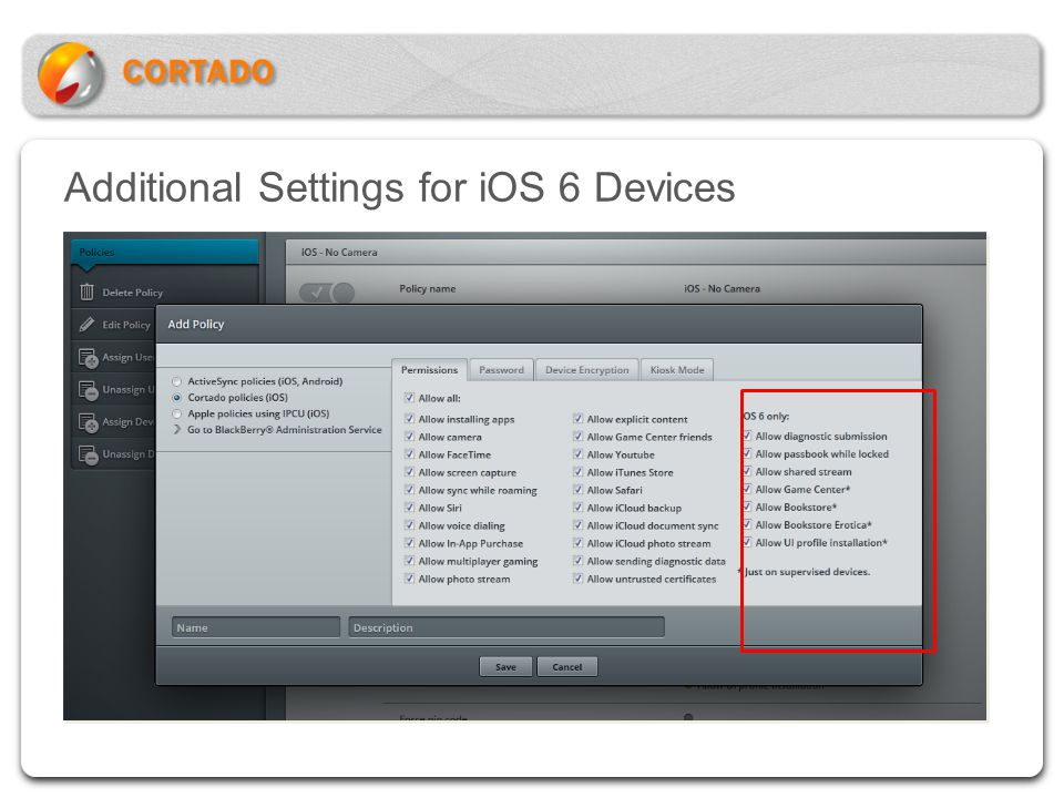 Additional Settings for iOS 6 Devices