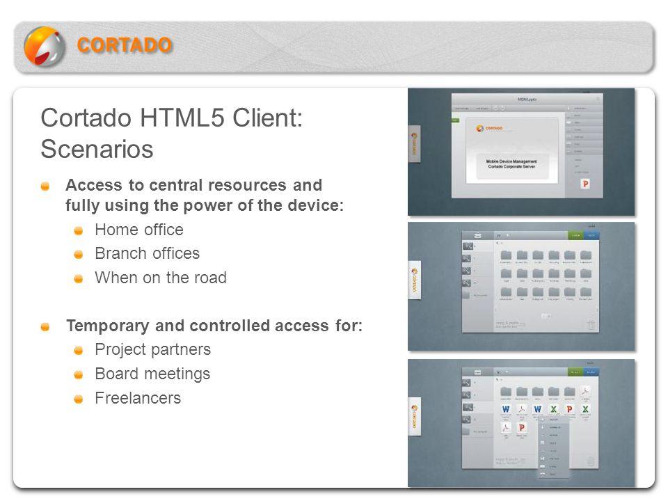 Cortado HTML5 Client: Scenarios