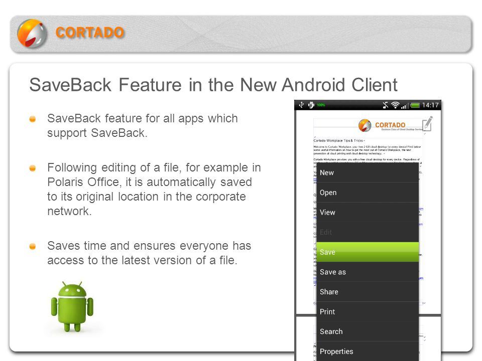 SaveBack Feature in the New Android Client