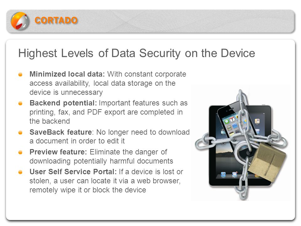 Highest Levels of Data Security on the Device