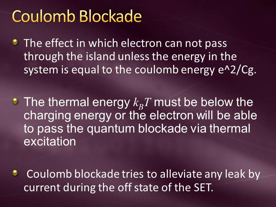 Coulomb Blockade The effect in which electron can not pass through the island unless the energy in the system is equal to the coulomb energy e^2/Cg.
