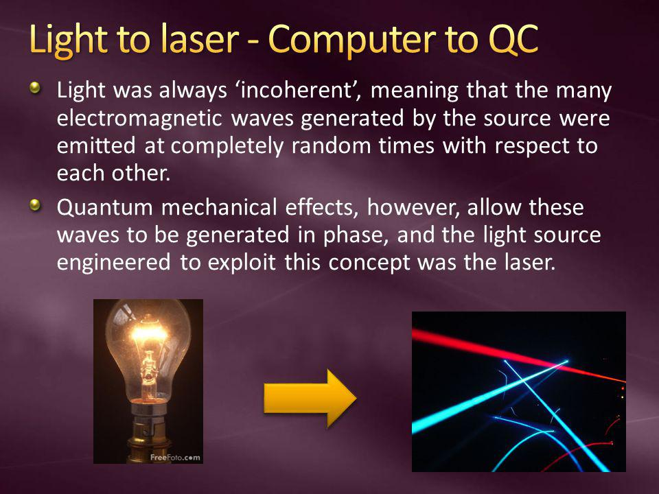 Light to laser - Computer to QC