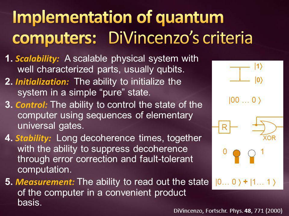 Implementation of quantum computers: DiVincenzo's criteria