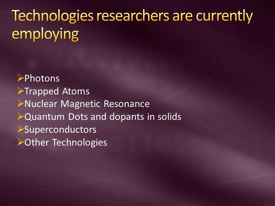 Technologies researchers are currently employing