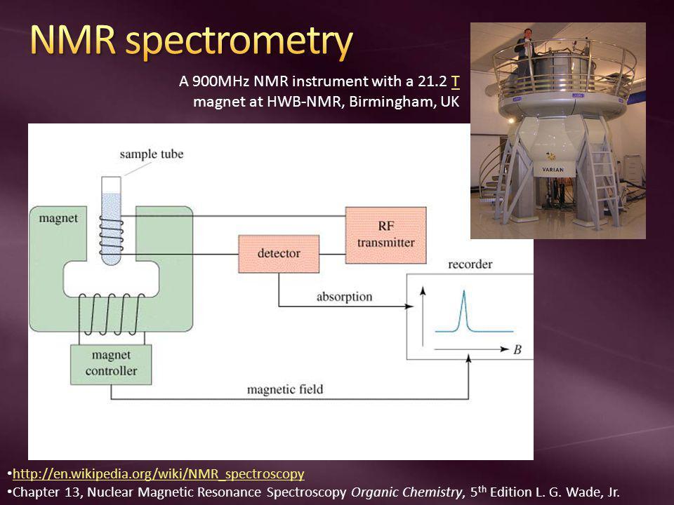NMR spectrometry A 900MHz NMR instrument with a 21.2 T magnet at HWB-NMR, Birmingham, UK. http://en.wikipedia.org/wiki/NMR_spectroscopy.