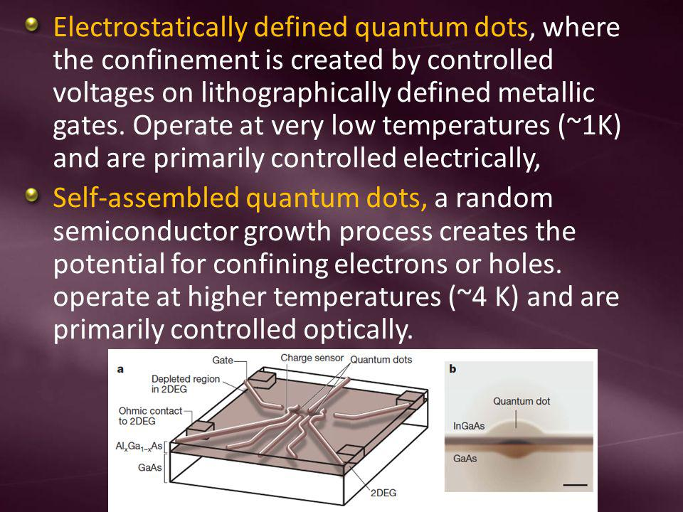 Electrostatically defined quantum dots, where the confinement is created by controlled voltages on lithographically defined metallic gates. Operate at very low temperatures (~1K) and are primarily controlled electrically,