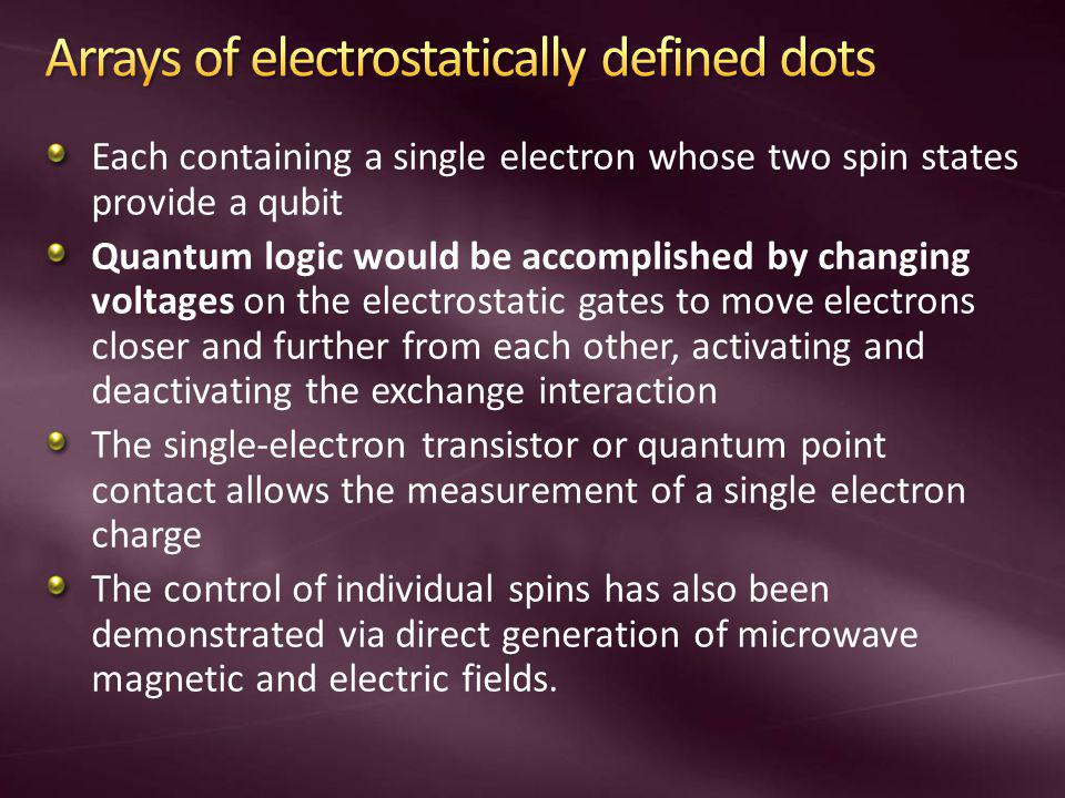 Arrays of electrostatically defined dots